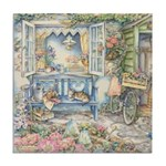 Kim Jacobs' Blue Garden Bench Tile Coaster