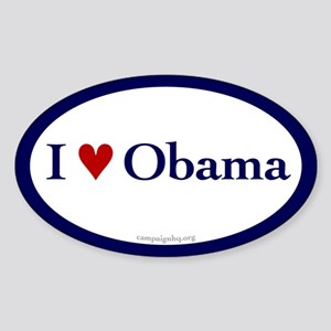 I heart Obama. Oval sticker.