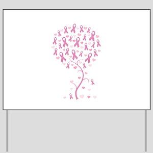 Pink Ribbon Breast Cancer Tre Yard Sign