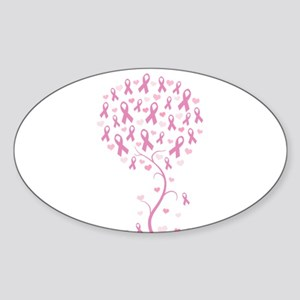 Pink Ribbon Breast Cancer Tre Sticker (Oval)