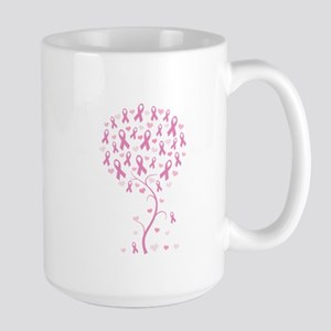 Pink Ribbon Breast Cancer Tre Large Mug