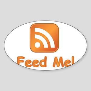 Feed Me Oval Sticker