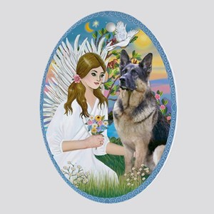 Angel Loving a German Shepherd Ornament (Oval)