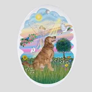Angel Star / Golden Retriever (4) Ornament (Oval)
