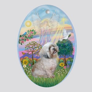 Angel Star / Lhasa Apso (L) Ornament (Oval)