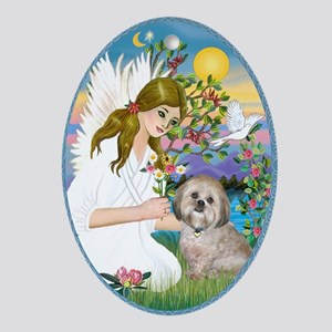 Angel Lovng a Lhasa Apso Ornament (Oval)