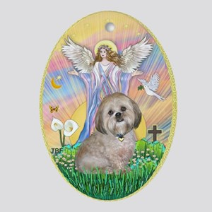 A Blessings for a Lhasa Apso Ornament (Oval)