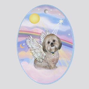 Lhasa Apso Angel Ornament (Oval)