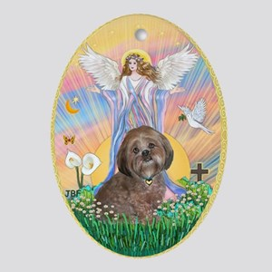 Blessing a Lhasa Apso (br) Ornament (Oval)