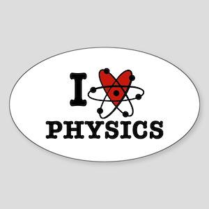I Love Physics Sticker (Oval)