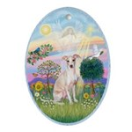 Cloud Angel #2 - Whippet (cream) Ornament (Oval)