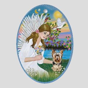 Angel Loving a Yorkie (#17) Ornament (Oval)