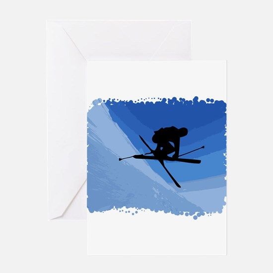 Skier Jumping Skis Crossed Greeting Card