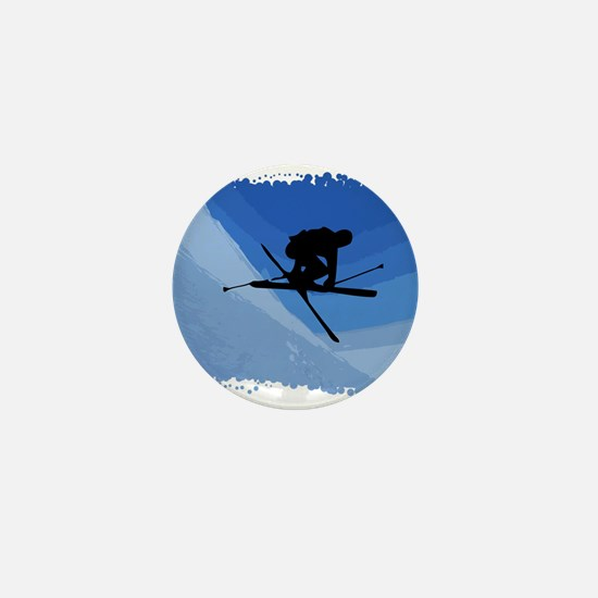 Skier Jumping Skis Crossed Mini Button