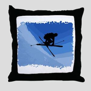 Skier Jumping Skis Crossed Throw Pillow