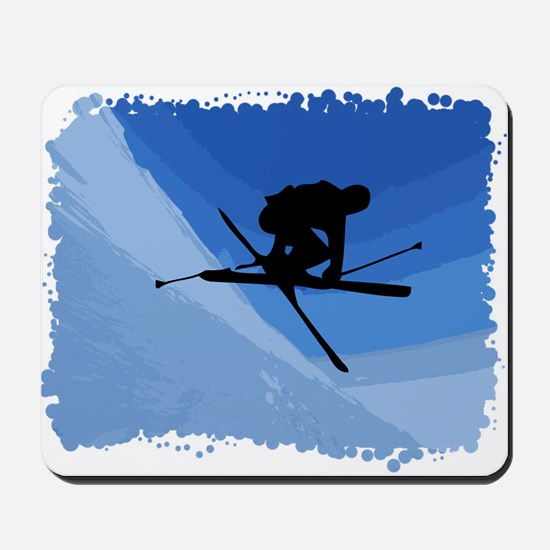 Skier Jumping Skis Crossed Mousepad