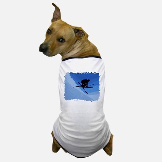 Skier Jumping Skis Crossed Dog T-Shirt