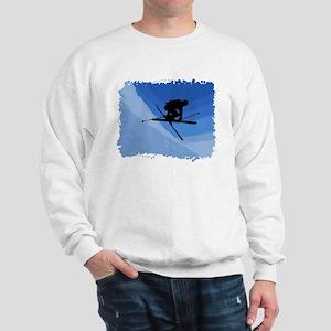 Skier Jumping Skis Crossed Sweatshirt