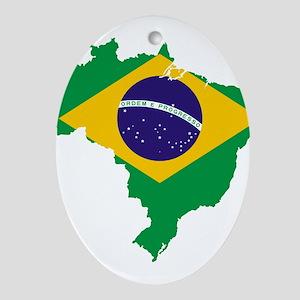 Brazil Flag/Map Ornament (Oval)