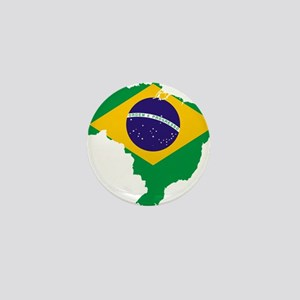 Brazil Flag/Map Mini Button