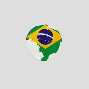 Brazil Flag/Map Mini Button