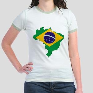 Brazil Flag/Map Jr. Ringer T-Shirt