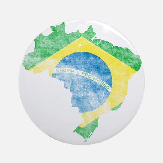 Brazil Flag/Map Distressed Ornament (Round)