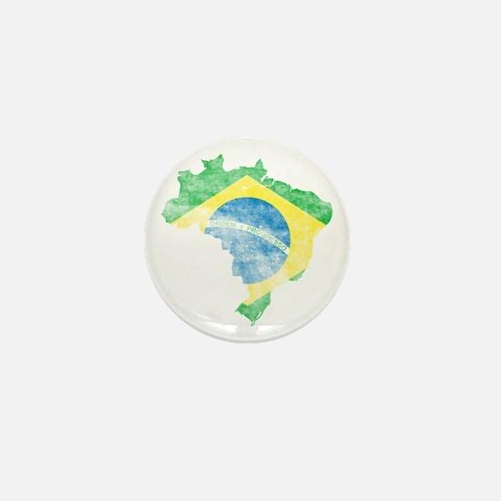 Brazil Flag/Map Distressed Mini Button