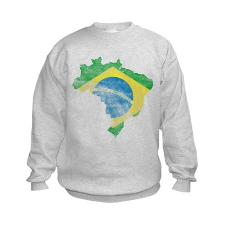 Brazil Flag/Map Distressed Kids Sweatshirt