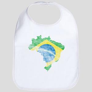 Brazil Flag/Map Distressed Bib