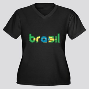 Brazil Flag in Name Women's Plus Size V-Neck Dark