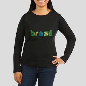 Brazil Flag in Name Women's Long Sleeve Dark T-Shi