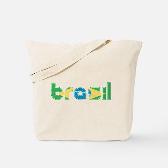 Brazil Flag in Name Tote Bag