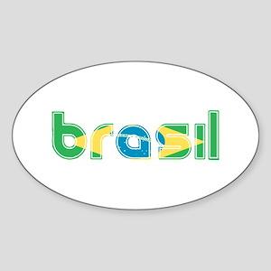 Brazil Flag in Name Sticker (Oval)