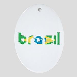 Brazil Flag in Name Ornament (Oval)