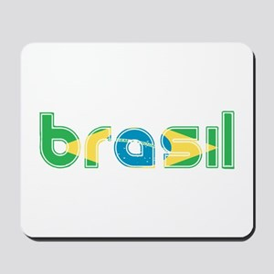 Brazil Flag in Name Mousepad