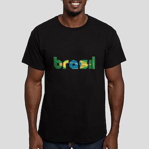Brazil Flag in Name Men's Fitted T-Shirt (dark)