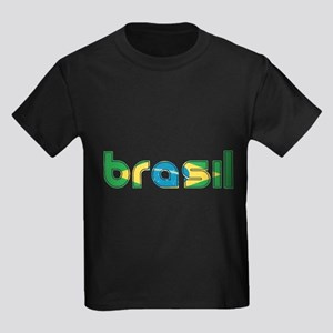 Brazil Flag in Name Kids Dark T-Shirt