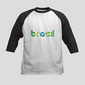 Brazil Flag in Name Kids Baseball Jersey