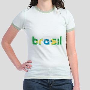 Brazil Flag in Name Jr. Ringer T-Shirt