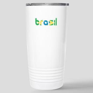 Brazil Flag in Name Stainless Steel Travel Mug