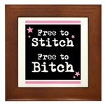 Free to Stitch Free to Bitch Framed Tile