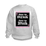 Free to Stitch Free to B!tch Kids Sweatshirt