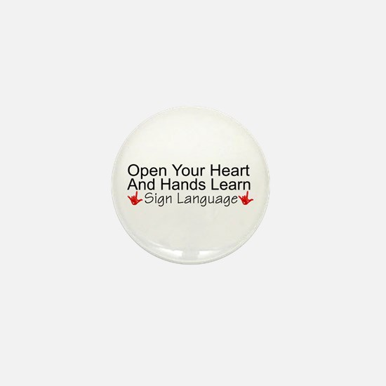 Open Your Heart And Hands Lea Mini Button