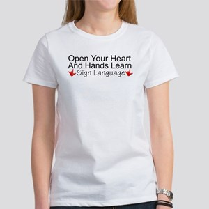 Open Your Heart And Hands Lea Women's T-Shirt