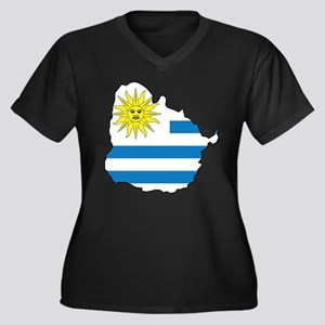 Map Of Uruguay Women's Plus Size V-Neck Dark T-Shi