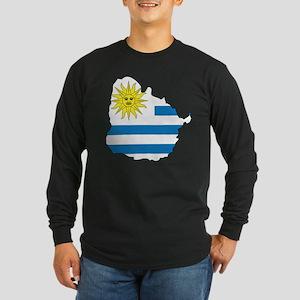 Map Of Uruguay Long Sleeve Dark T-Shirt