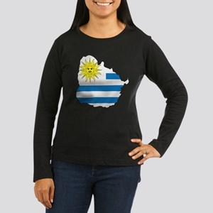 Map Of Uruguay Women's Long Sleeve Dark T-Shirt