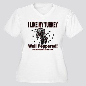 Peppered Turkey Women's Plus Size V-Neck T-Shirt