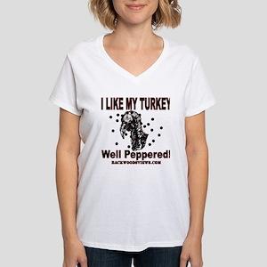 Peppered Turkey Women's V-Neck T-Shirt